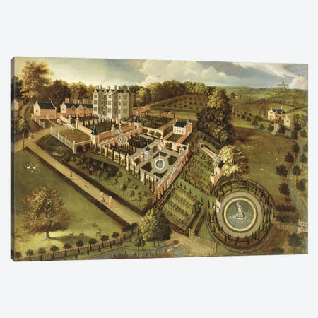 The House and Garden of Llanerch Hall, Denbighshire, c.1662-72  Canvas Print #BMN1927} by English School Canvas Artwork