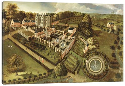 The House and Garden of Llanerch Hall, Denbighshire, c.1662-72  Canvas Art Print