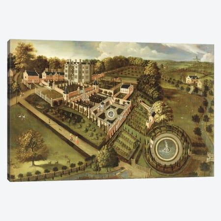 The House and Garden of Llanerch Hall, Denbighshire, c.1662-72  Canvas Print #BMN1927} by English School Canvas Artwork