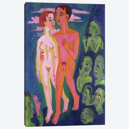 A Couple in front of a Crowd  Canvas Print #BMN1929} by Ernst Ludwig Kirchner Art Print