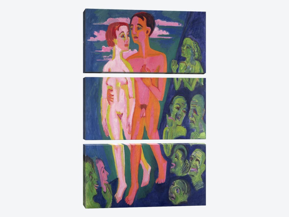 A Couple in front of a Crowd  by Ernst Ludwig Kirchner 3-piece Canvas Artwork