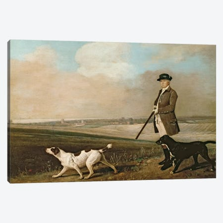 Sir John Nelthorpe, 6th Baronet out Shooting with his Dogs in Barton Field, Lincolnshire, 1776  Canvas Print #BMN192} by George Stubbs Canvas Wall Art