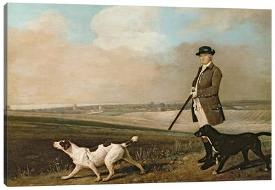 Sir John Nelthorpe, 6th Baronet out Shooting with his Dogs in Barton Field, Lincolnshire, 1776  Canvas Art Print