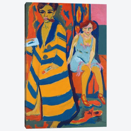 Self Portrait with a Model, 1907  Canvas Print #BMN1930} by Ernst Ludwig Kirchner Canvas Artwork