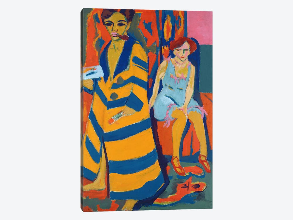 Self Portrait with a Model, 1907  by Ernst Ludwig Kirchner 1-piece Canvas Art