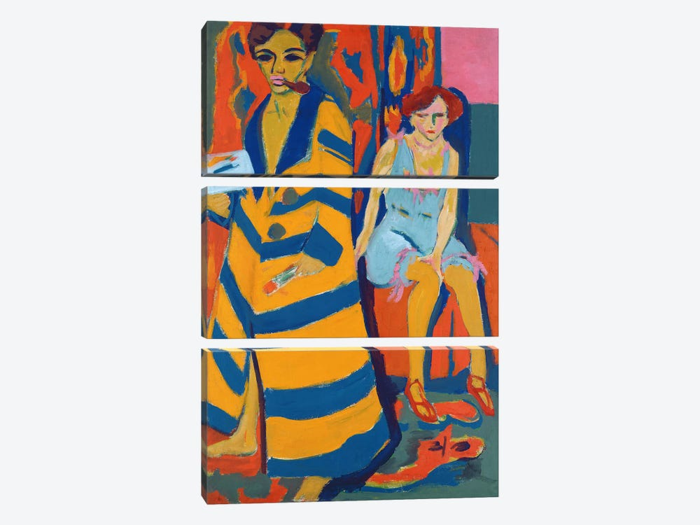 Self Portrait with a Model, 1907  by Ernst Ludwig Kirchner 3-piece Canvas Artwork