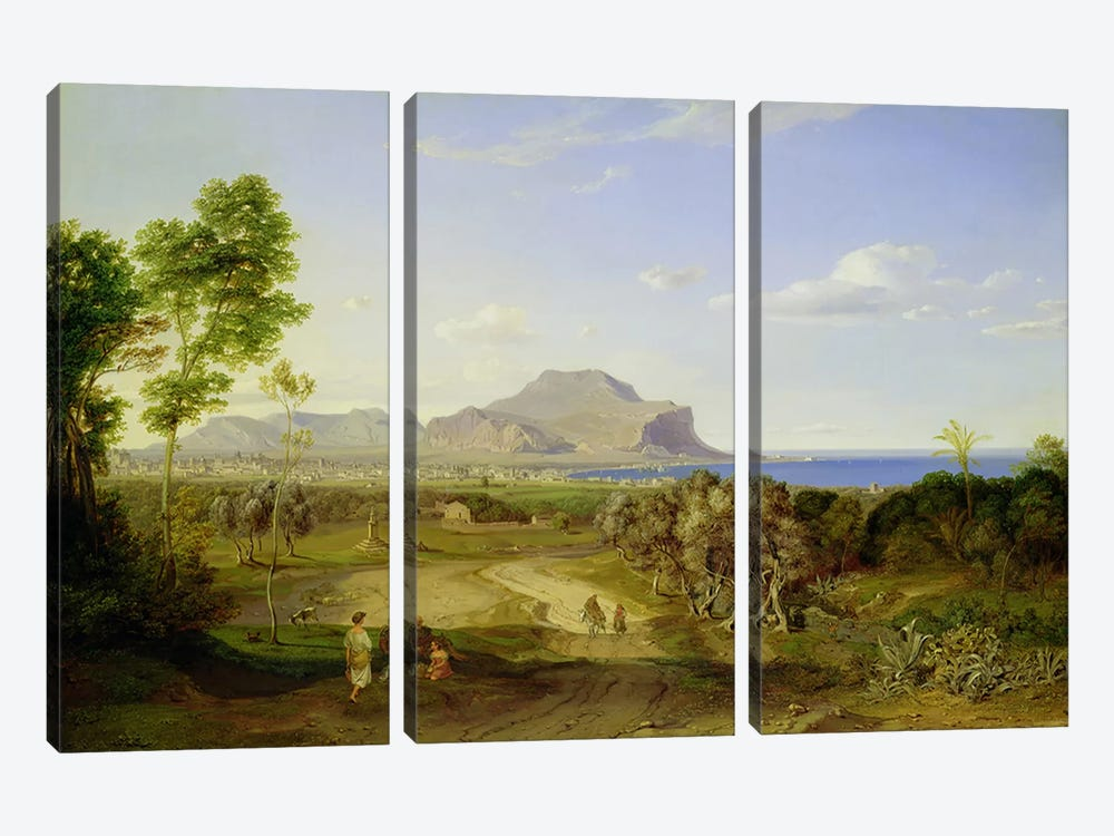 View over Palermo, 1828  by Carl Rottmann 3-piece Canvas Artwork