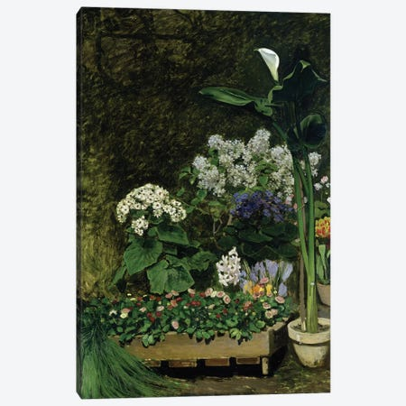 Flowers in a Greenhouse, 1864  Canvas Print #BMN1944} by Pierre-Auguste Renoir Canvas Artwork