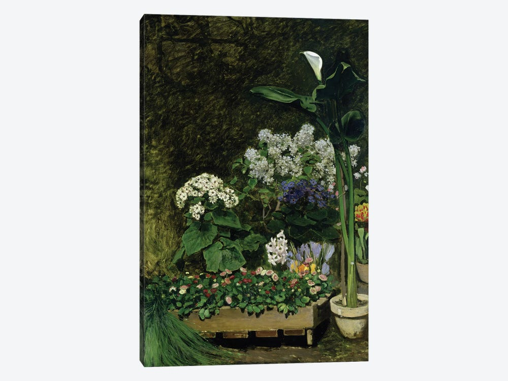 Flowers in a Greenhouse, 1864  by Pierre-Auguste Renoir 1-piece Canvas Print