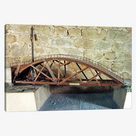 Model of a swing bridge made from one of Leonardo's drawings  Canvas Print #BMN1947} by Leonardo da Vinci Canvas Artwork