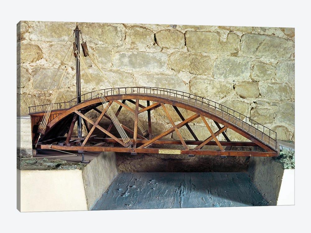 Model of a swing bridge made from one of Leonardo's drawings  by Leonardo da Vinci 1-piece Canvas Artwork