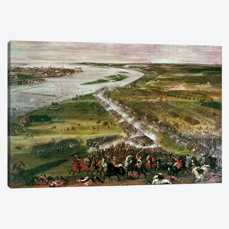 Battle for the Crossing of the Dvina, 1701  Canvas Print #BMN194} by Swedish School Canvas Print