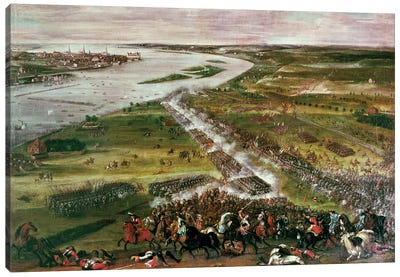 Battle for the Crossing of the Dvina, 1701  Canvas Art Print