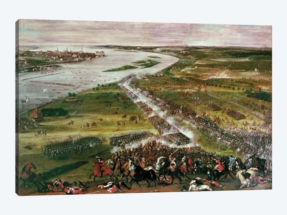 Battle for the Crossing of the Dvina, 1701  by Swedish School 1-piece Canvas Print