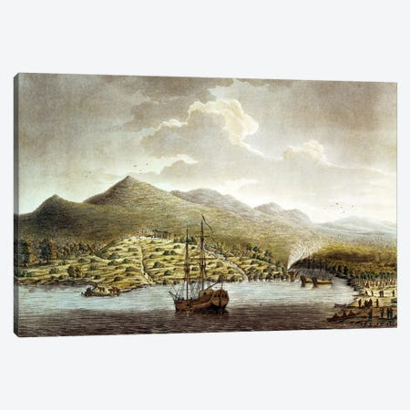A View of the New Settlement in the River at Sierra Leona on the Coast of Guinea in Africa  Canvas Print #BMN1953} by English School Canvas Wall Art