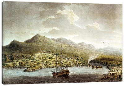 A View of the New Settlement in the River at Sierra Leona on the Coast of Guinea in Africa  Canvas Art Print