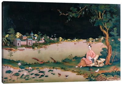Japanese mirror painting showing a girl seated, c.1800 Canvas Print #BMN195