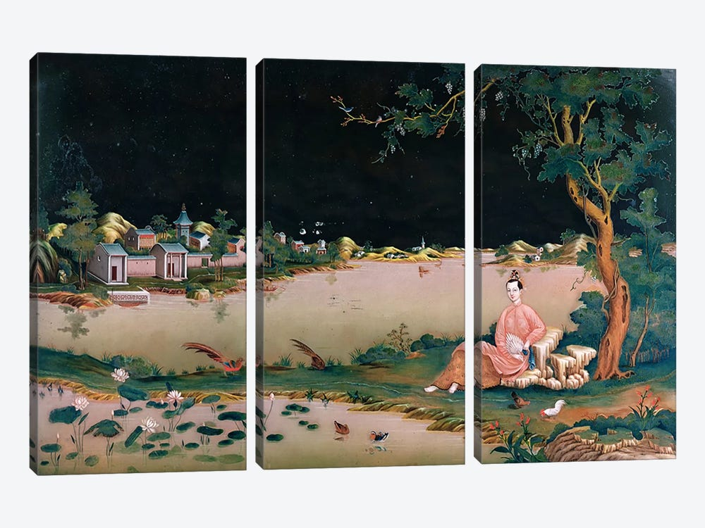 Japanese mirror painting showing a girl seated, c.1800 by Japanese School 3-piece Canvas Wall Art
