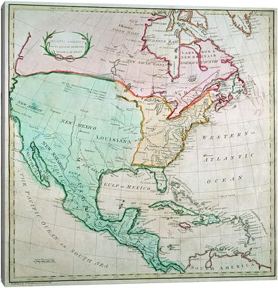 Map of North America, published by T. Stackhouse, 1783 Canvas Art Print