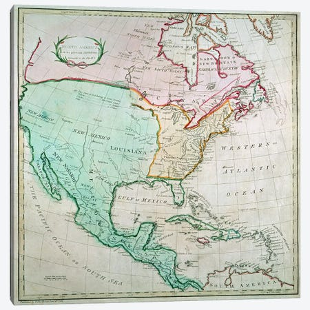 Map of North America, published by T. Stackhouse, 1783 3-Piece Canvas #BMN1960} by English School Canvas Art Print