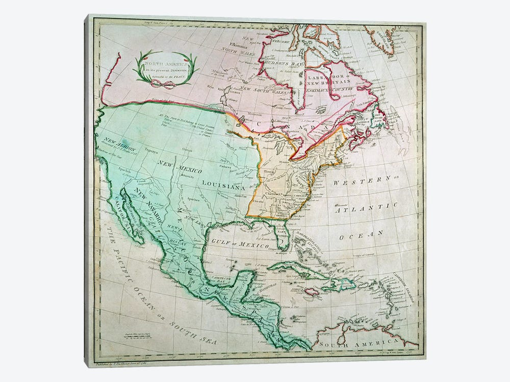 Map of North America, published by T. Stackhouse, 1783 by English School 1-piece Canvas Art Print