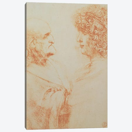 Two Heads in Profile, c.1500  Canvas Print #BMN1966} by Leonardo da Vinci Canvas Artwork