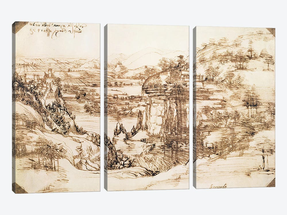 Arno Landscape, 5th August, 1473 by Leonardo da Vinci 3-piece Canvas Artwork