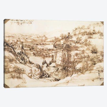 Arno Landscape, 5th August, 1473  Canvas Print #BMN1967} by Leonardo da Vinci Canvas Wall Art
