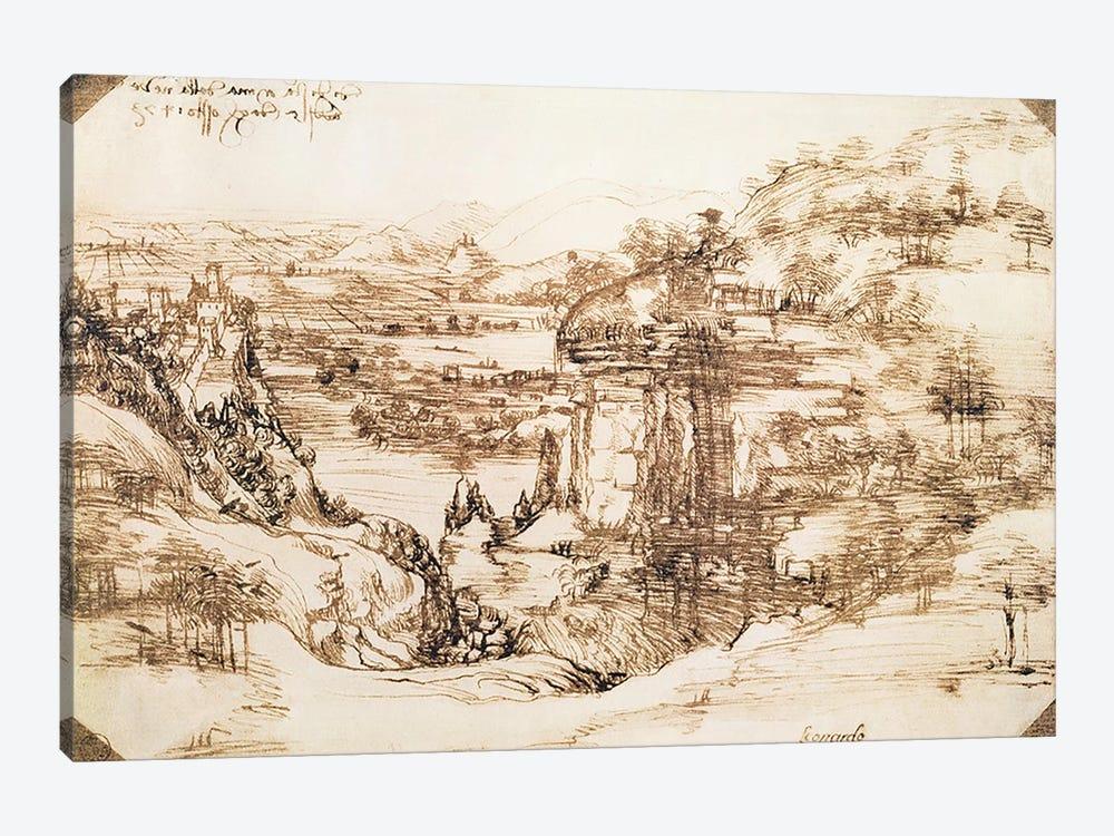 Arno Landscape, 5th August, 1473  by Leonardo da Vinci 1-piece Canvas Art