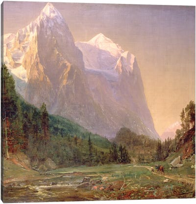 Sunrise on the Wetterhorn, 1858  Canvas Art Print