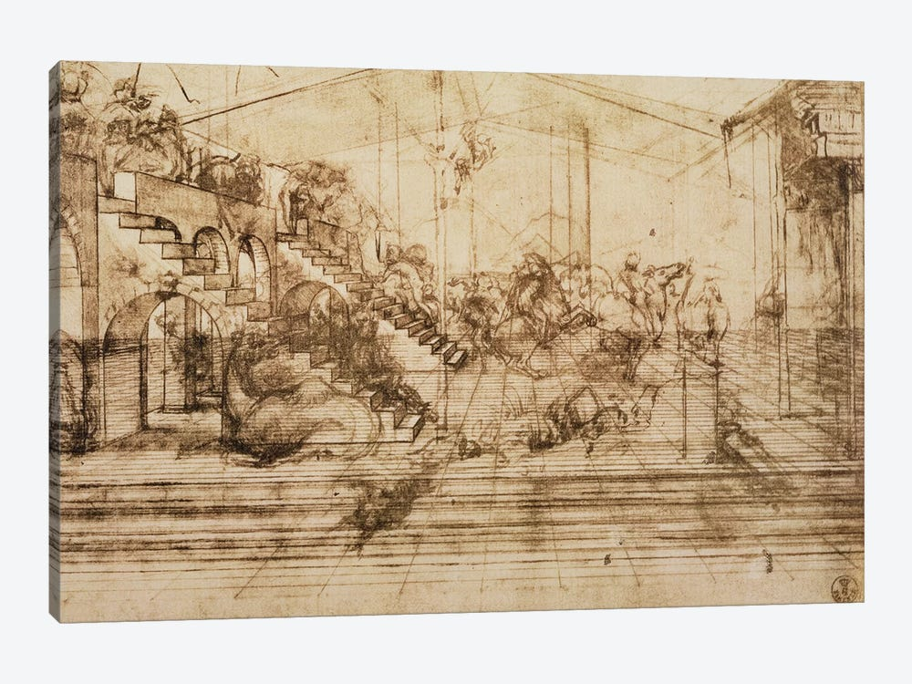Perspective Study for the Background of The Adoration of the Magi  by Leonardo da Vinci 1-piece Canvas Art Print