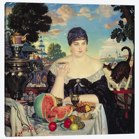 The Merchant's Wife at Tea, 1918  Canvas Print #BMN1979} by Boris Mihajlovic Kustodiev Canvas Artwork