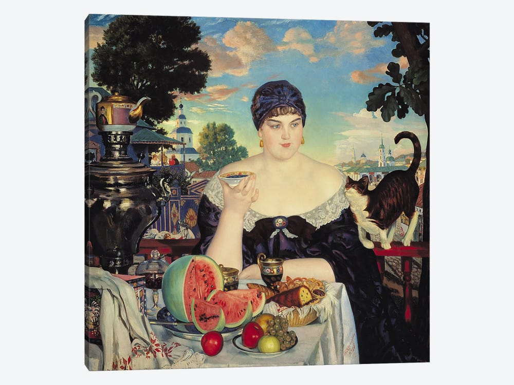 The Merchant's Wife at Tea, 1918  by Boris Mihajlovic Kustodiev 1-piece Art Print