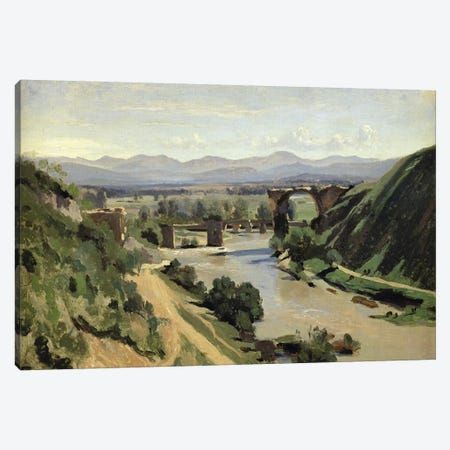 Narni, The Bridge of Augustus over the Nera  Canvas Print #BMN1982} by Jean-Baptiste-Camille Corot Canvas Print