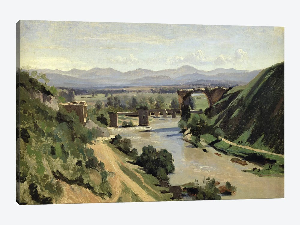 Narni, The Bridge of Augustus over the Nera  by Jean-Baptiste-Camille Corot 1-piece Canvas Print