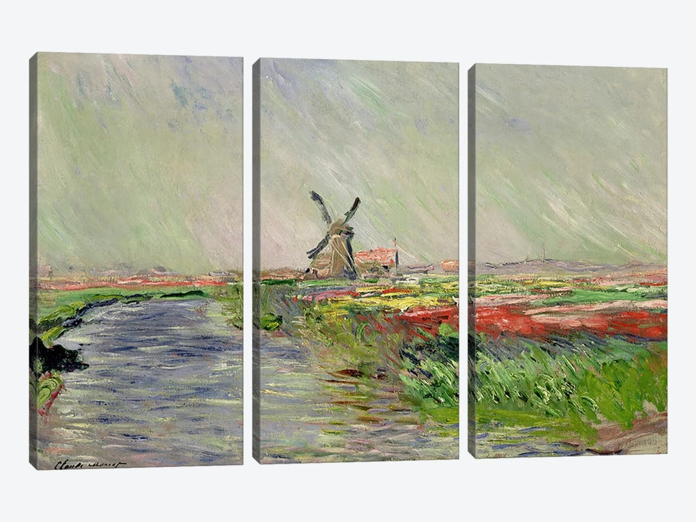 Tulip Field in Holland by Claude Monet 3-piece Canvas Artwork