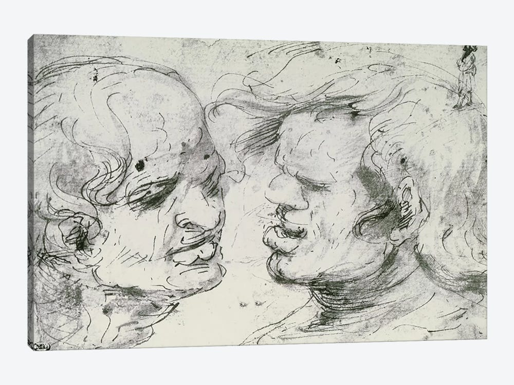 Two Heads  by Leonardo da Vinci 1-piece Canvas Artwork
