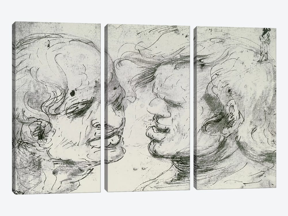 Two Heads  by Leonardo da Vinci 3-piece Canvas Artwork