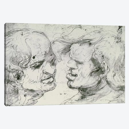 Two Heads  Canvas Print #BMN1992} by Leonardo da Vinci Canvas Wall Art