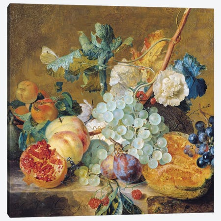 Flowers and Fruit  Canvas Print #BMN1998} by Jan van Huysum Canvas Artwork