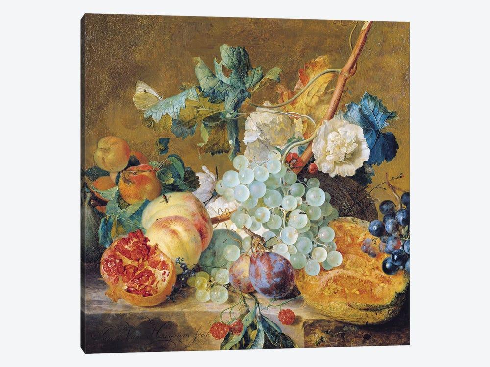 Flowers and Fruit  by Jan van Huysum 1-piece Canvas Art
