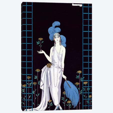 'La Roseraie', fashion design for an evening dress by the House of Worth (colour litho) Canvas Print #BMN19} by George Barbier Canvas Print
