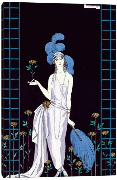 'La Roseraie', fashion design for an evening dress by the House of Worth (colour litho) Canvas Art Print