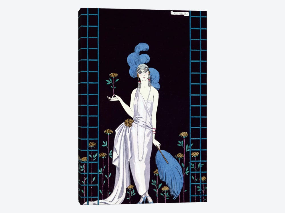 'La Roseraie', fashion design for an evening dress by the House of Worth (colour litho) by George Barbier 1-piece Canvas Art