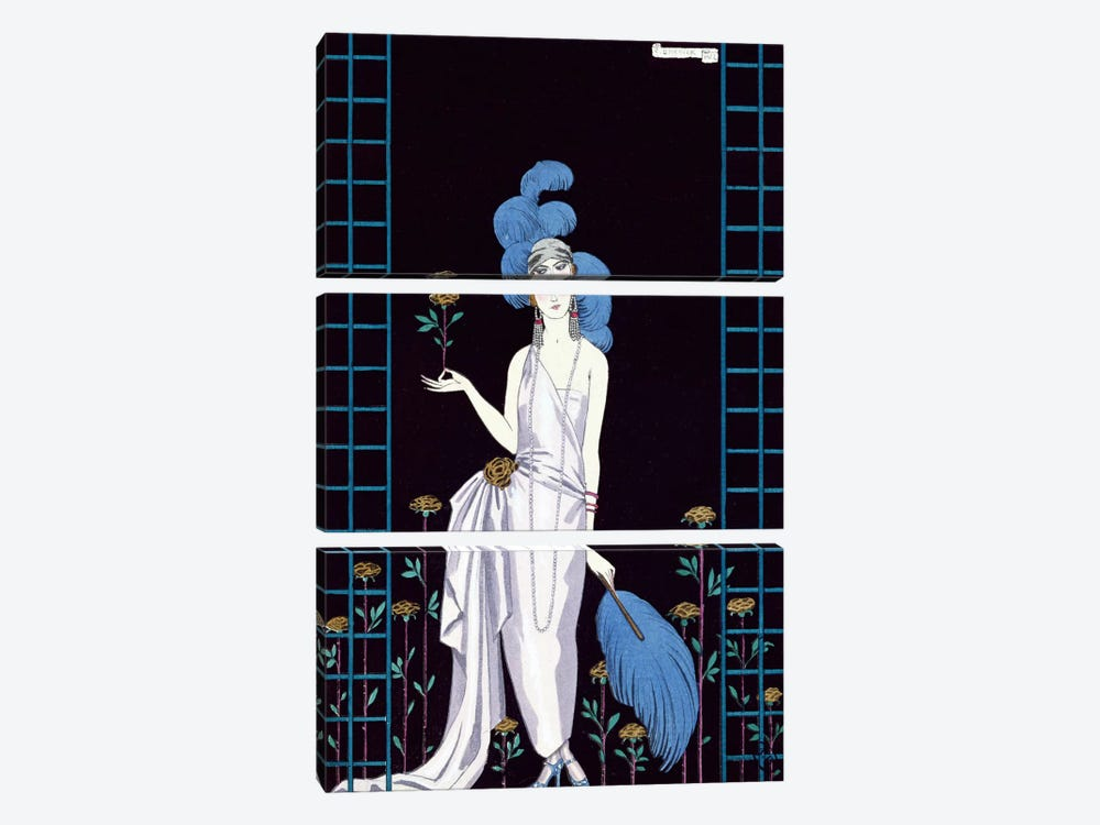 'La Roseraie', fashion design for an evening dress by the House of Worth (colour litho) by George Barbier 3-piece Canvas Art