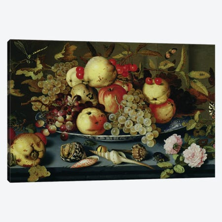 Still Life with Fruit, Flowers and Seafood  Canvas Print #BMN2004} by Balthasar van der Ast Art Print