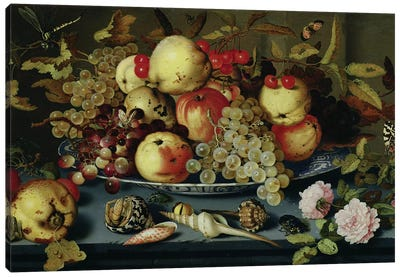 Still Life with Fruit, Flowers and Seafood  Canvas Art Print