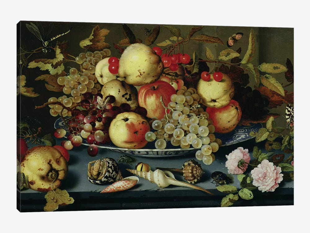 Still Life with Fruit, Flowers and Seafood  by Balthasar van der Ast 1-piece Canvas Art Print