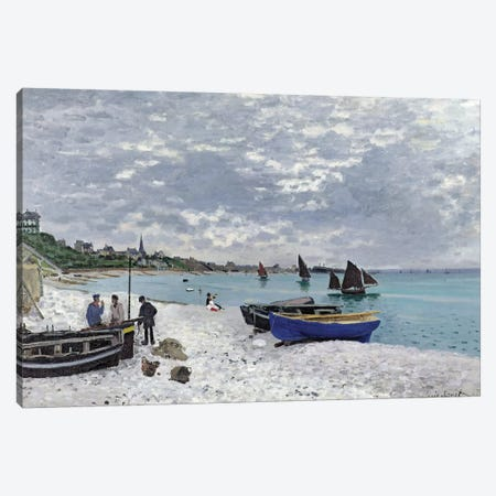 The Beach at Sainte-Adresse, 1867  Canvas Print #BMN2006} by Claude Monet Canvas Art Print