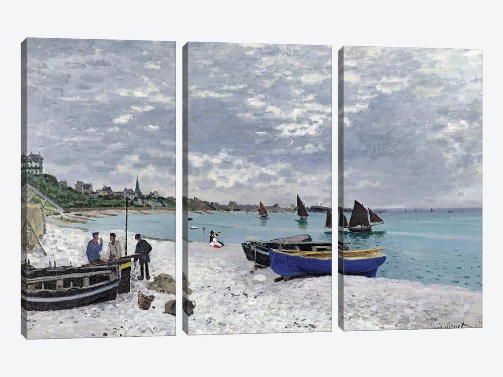 The Beach at Sainte-Adresse, 1867  by Claude Monet 3-piece Canvas Art Print